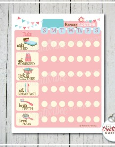 Printable morning routine chart editable name pink girl daily planner also etsy rh