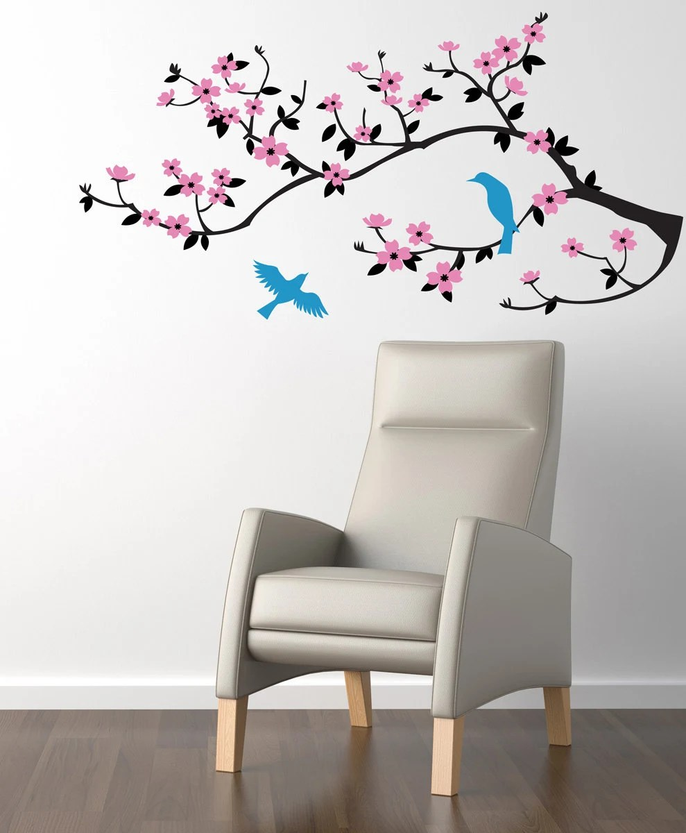 wall decal cherry blossom branch wall decal sticker etsy