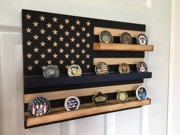 Thin Blue Line Challenge Coin Display - Year of Clean Water