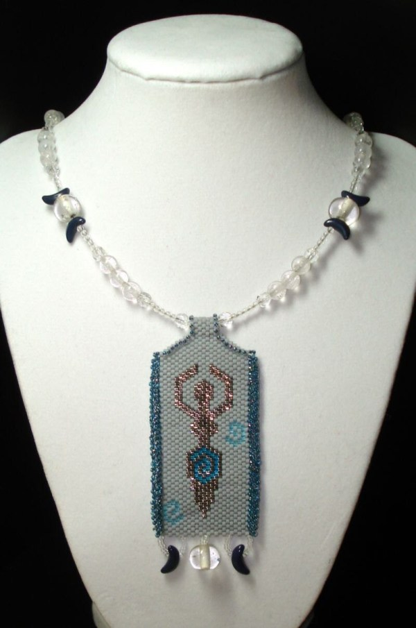 Triple Moon Goddess 20 Necklace With Peyote-stitched