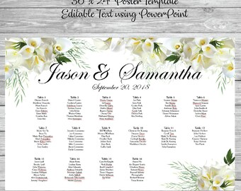 Calla lilly  wedding seating chart poster template printable also etsy rh