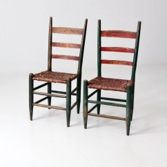 White Ladder Back Chairs Rush Seats Office Desk Chair Floor Mats Etsy Primitive Pair Antique Rustic Painted Woven Seat Set 2