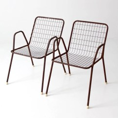 Metal Patio Chair Alera Office Chairs Etsy Mid Century Wire Set Of 2