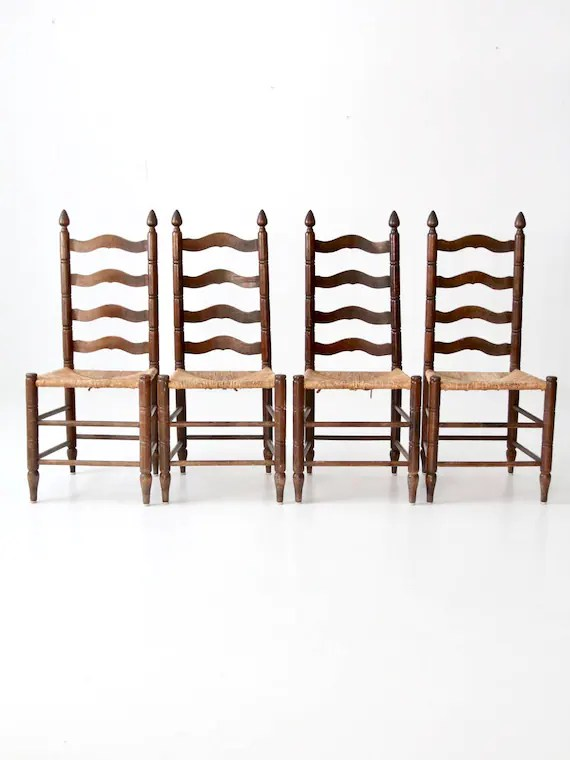 antique ladder back chairs with rush seats recliner chair for baby room seat set of 4 dining etsy image 0