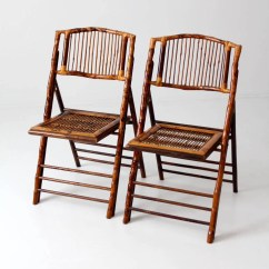 Bamboo Folding Chair Just Tables And Chairs Vintage Set Of 2 Etsy Image 0