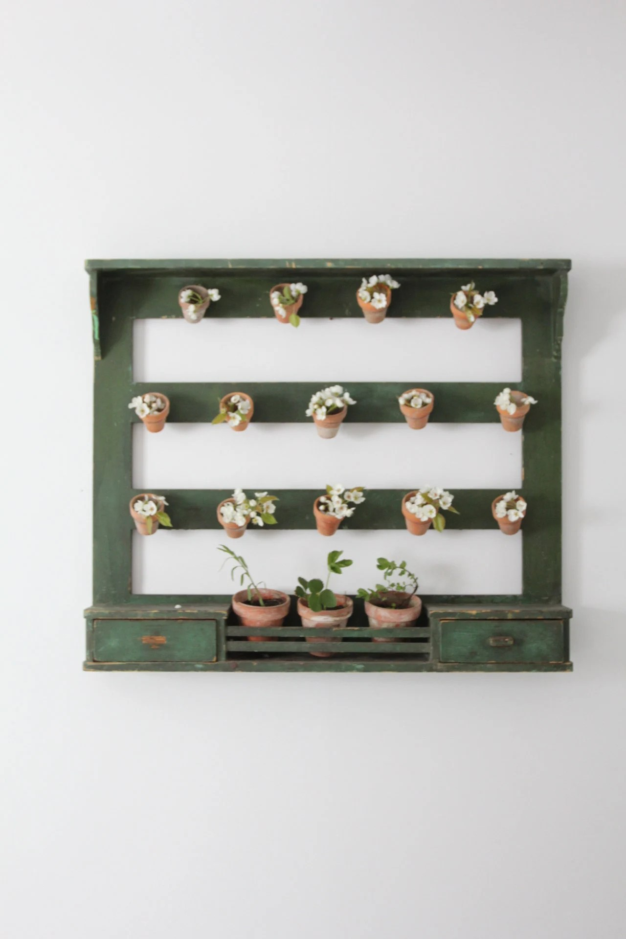 Antique Italian Kitchen Rack Wooden Wall Shelf Etsy