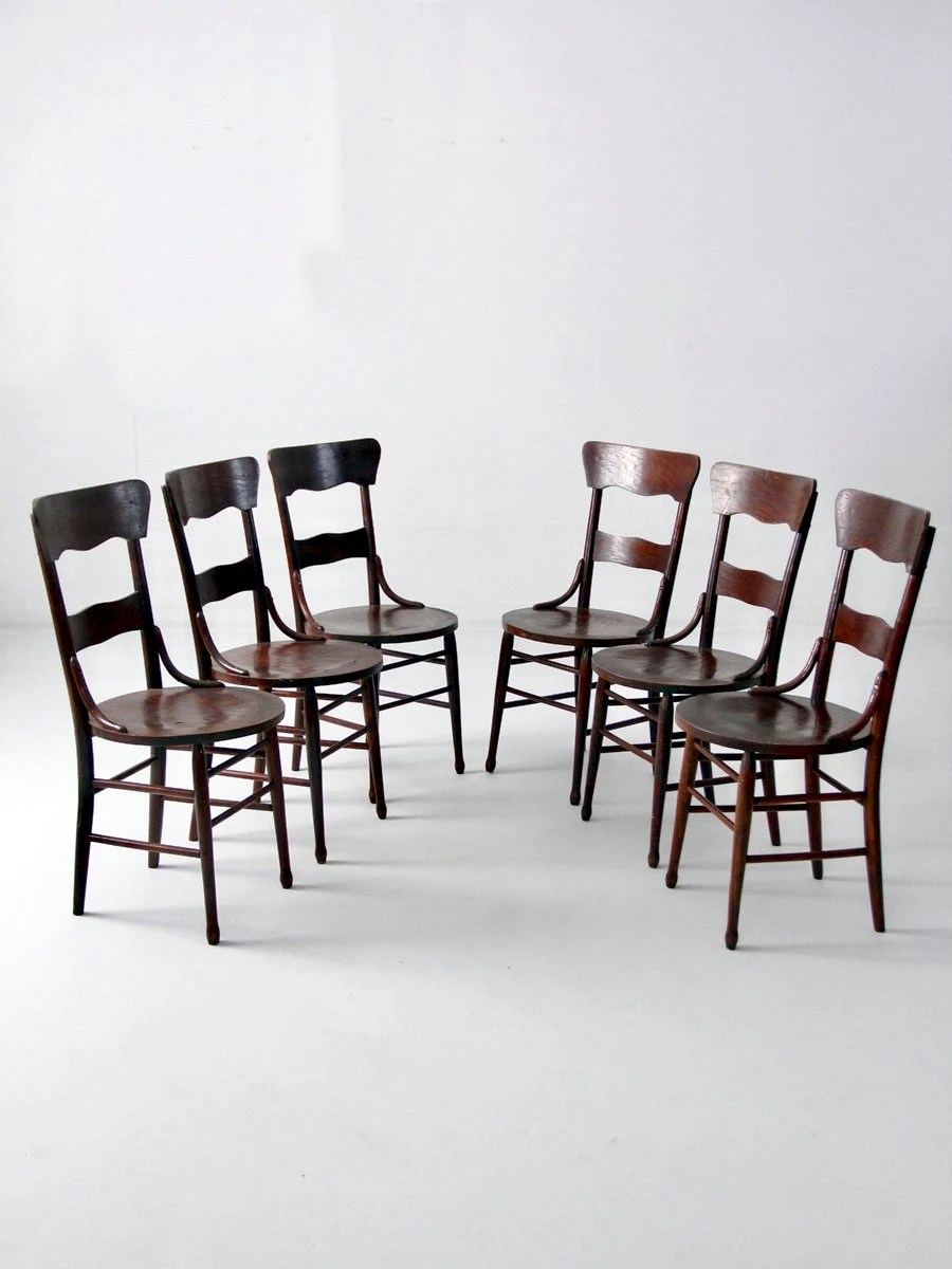 Dining Chair Set Of 6 Antique Bentwood Chair Set Of 6 Wood Dining Chairs
