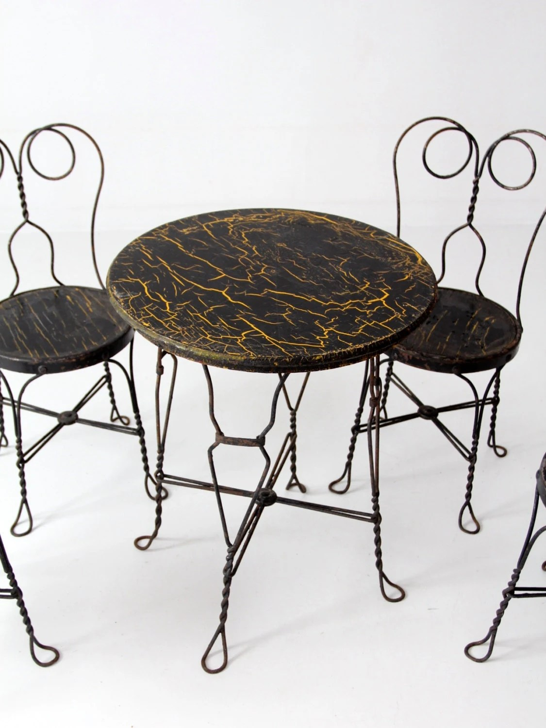 ice cream table and chairs desk for teens parlor vintage black cafe etsy 50