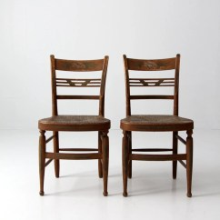 Rush Seat Chairs Haworth Zody Chair Review Antique Pair Set Painted Back Wood Etsy