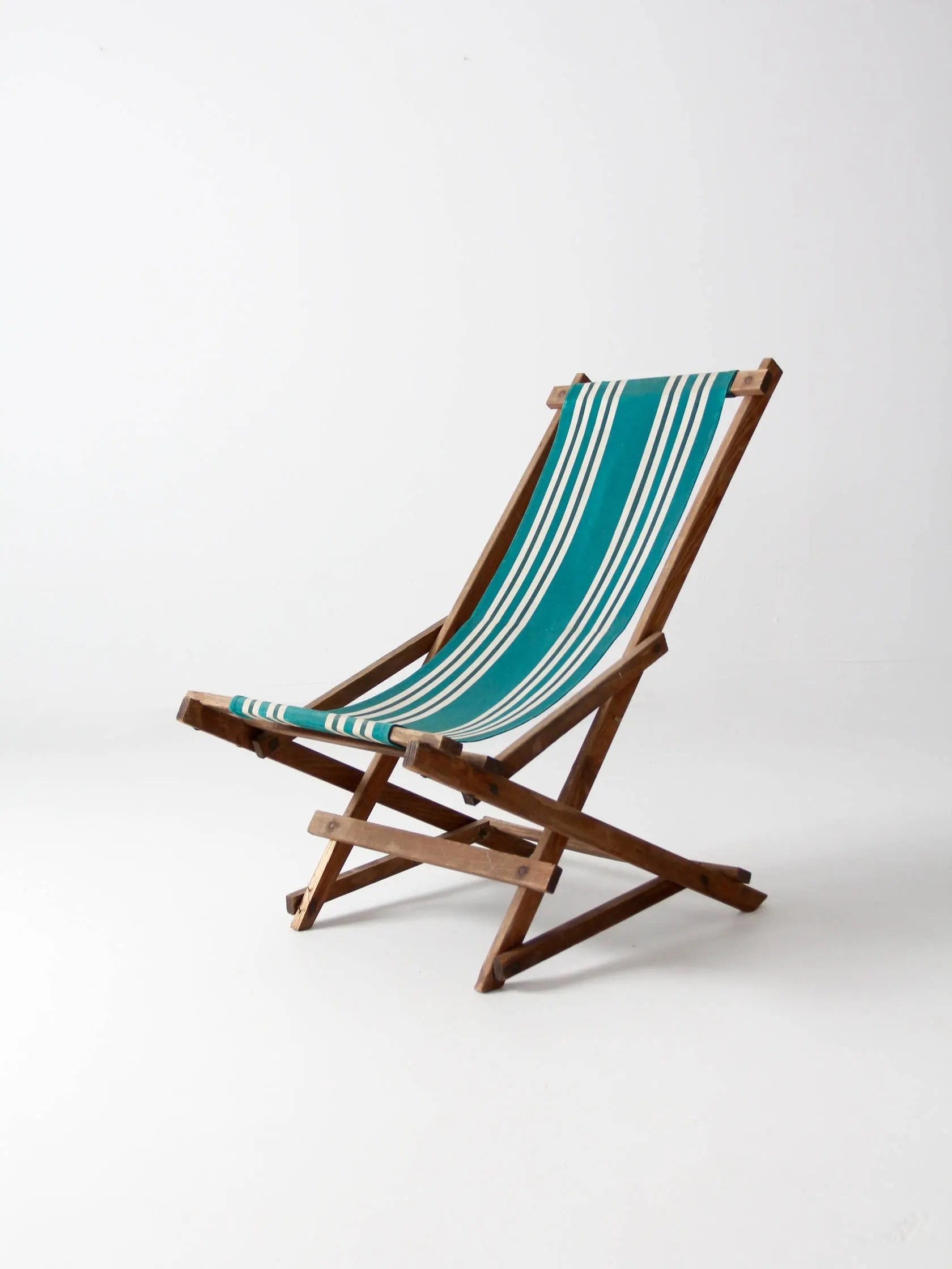 Folding Wood Beach Chair Vintage Striped Deck Chair Rocking Deck Chair Folding Beach Chair