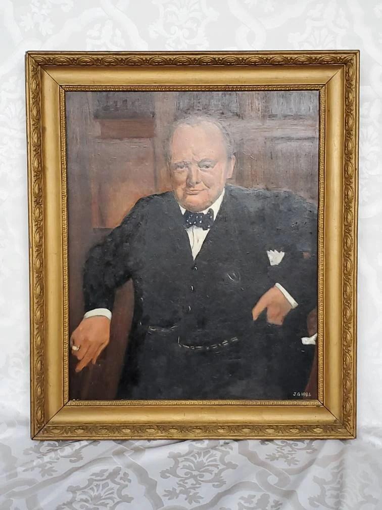 Winston Churchill Portrait Painting : winston, churchill, portrait, painting, Canvas, Portrait, Painting, Winston, Churchill