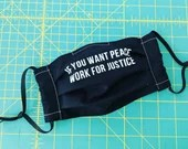 Reusable Cloth Pleated Face Mask with Nose Wire - If You Want Peace Work For Justice