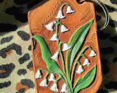 Leather keychain, Lily of...