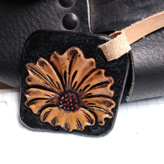 Leather charm, floral cha...