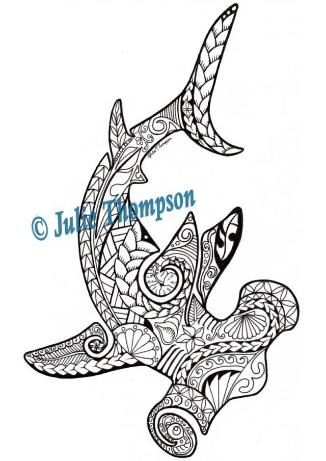 Tribal - Hammerhead Shark hand-drawn printable coloring page