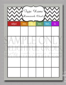 Image also editable homework chart pdf printable file instant etsy rh