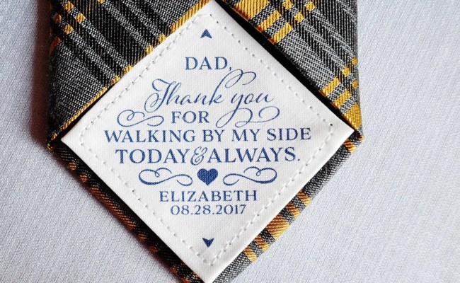 Thank You Dad Wedding Tie Patch Personalized Gift For Dad