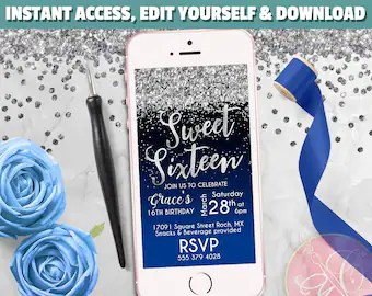 Download, print or send online for free. Sweet 16 Invites Royal Blue And Silver Etsy