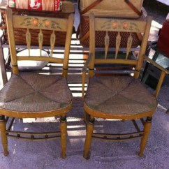 Rush Seat Chairs Round Sitting Room Pair Of Antique Painted Arrow Back Etsy Image 0