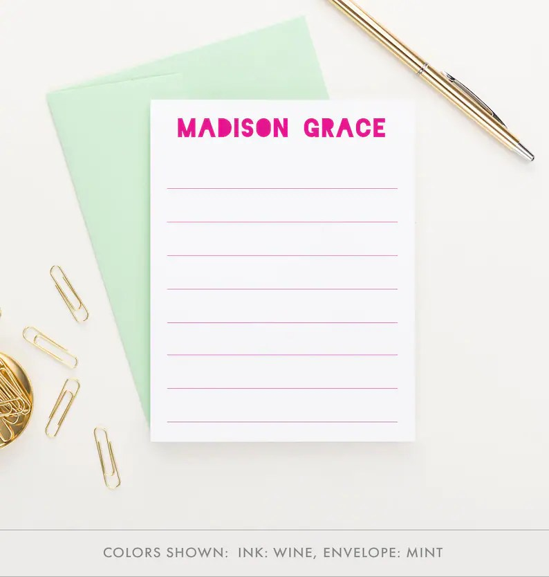personalized lined stationery for
