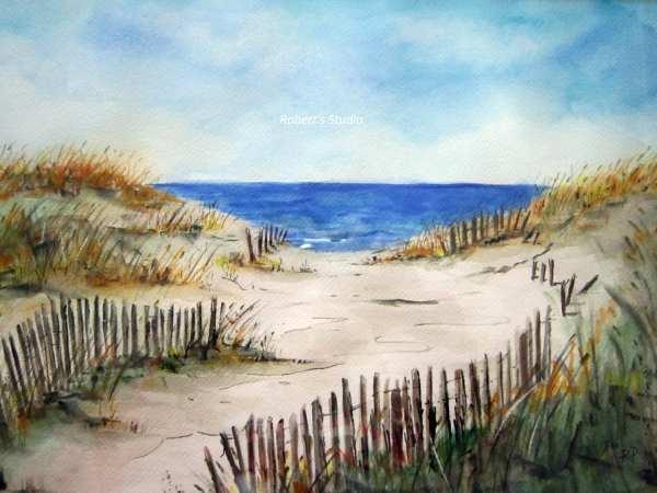 beach shore print of original watercolor