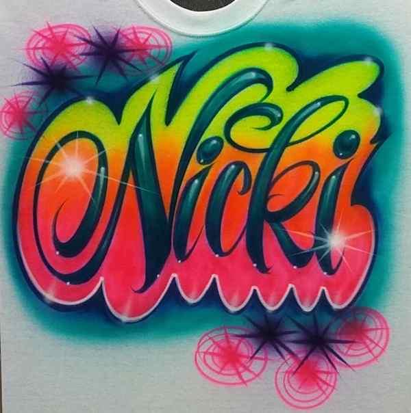Airbrush T Shirt Script Favorite Colors