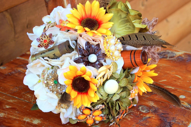 Camo Wedding Bouquet Hunting Sunflower Brooch Bouquet Shot