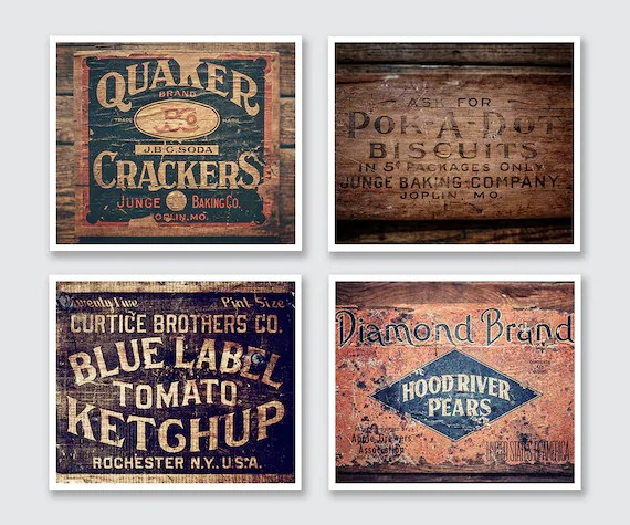country kitchen wall decor unit led lights modern farmhouse set of 4 prints rustic etsy image 0