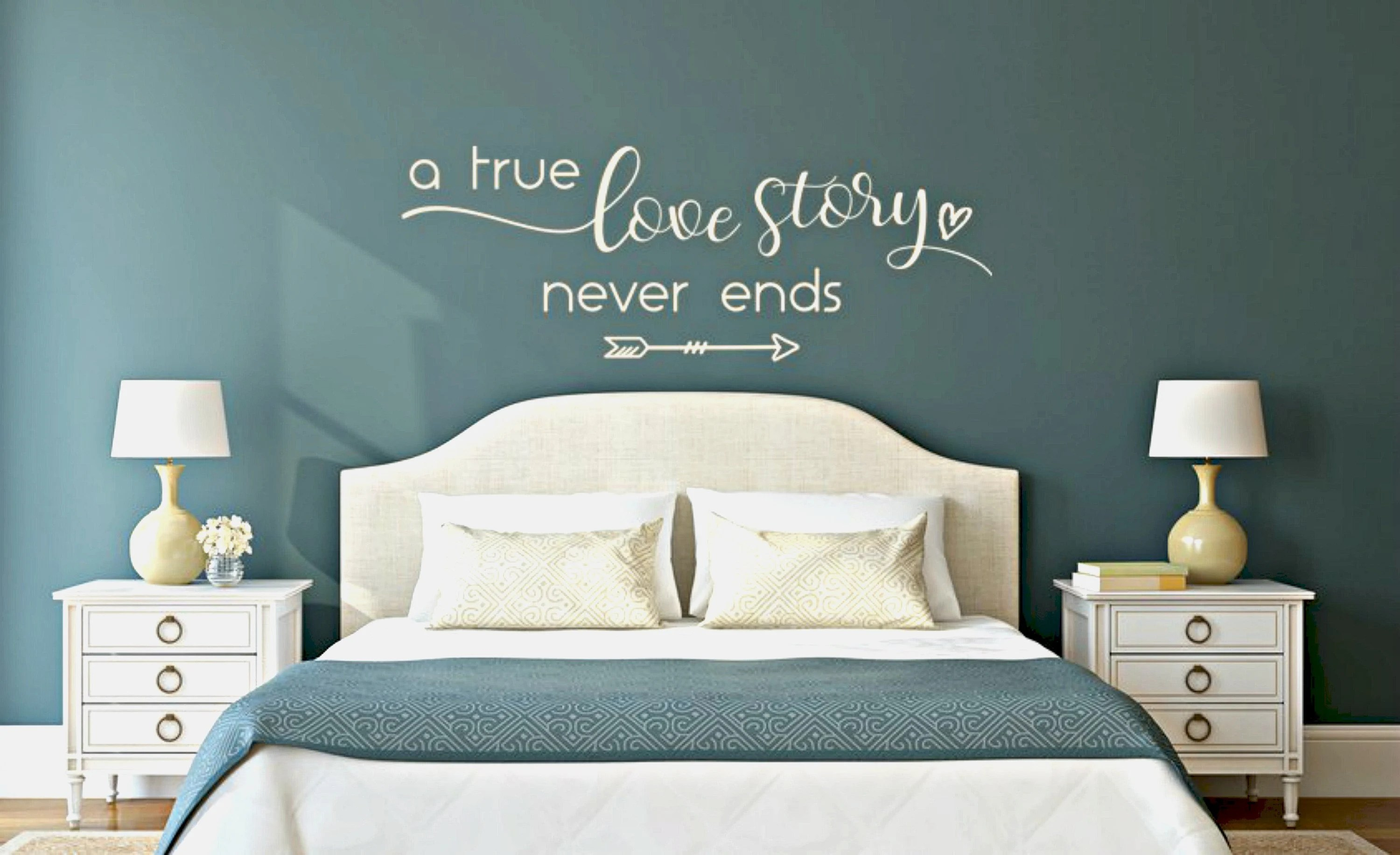 Romantic Wall Decals Master Bedroom Vinyl Love Story Decal Etsy ...