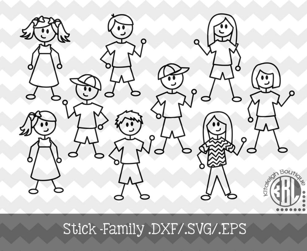 Stick Family .DXF/.SVG/.EPS File for use with your