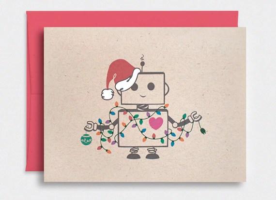 Funny Christmas Card Cute Robot Santa Kawaii Holiday Card