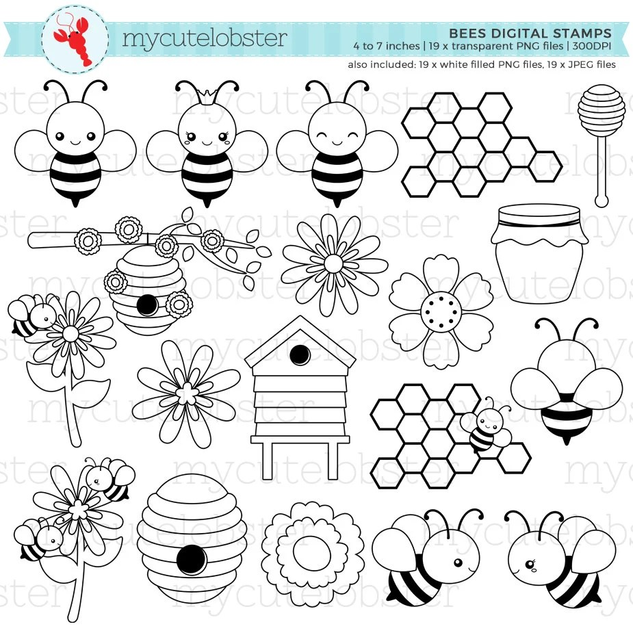 bees digital stamps bees