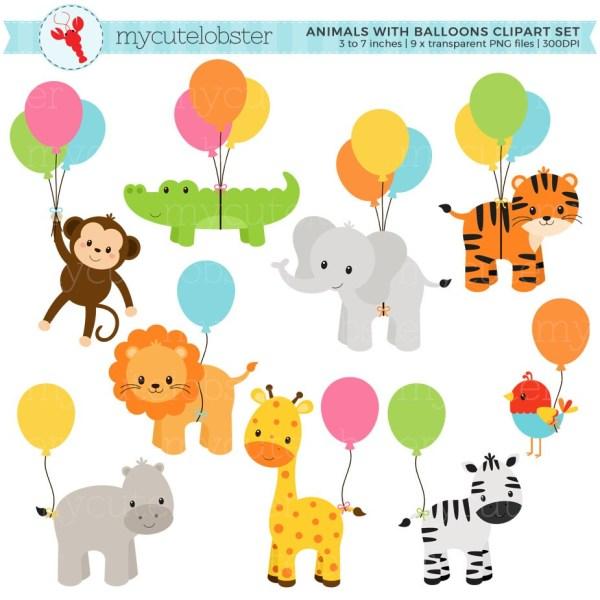 safari animals with balloons clipart