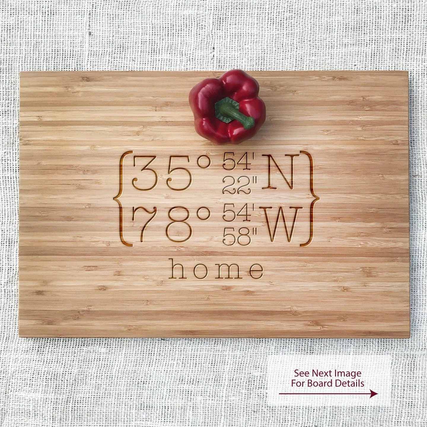 engraved coordinate cutting board