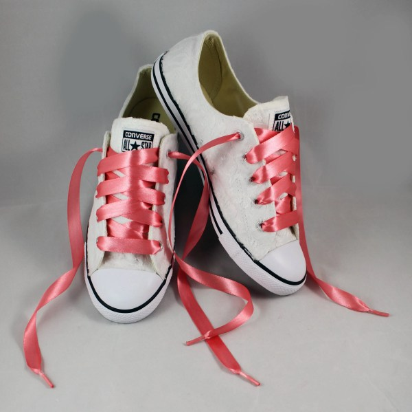 198409bd34b16 Bridal Coral Converses Lace Converse Wedding - Year of Clean Water