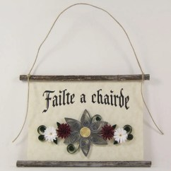 A Chairde Antique Vanity Chair Irish Welcome Sign Etsy Failte Friends Paper Quilled 3d Banner Grey Red White Decor Gift Rustic Wall Art