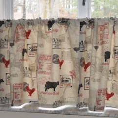 Curtains For The Kitchen Stainless Faucet Country Etsy Farmhouse Cafe Farm Tiers Cow And Rooster Hudson 43 Huddersfeild Linen