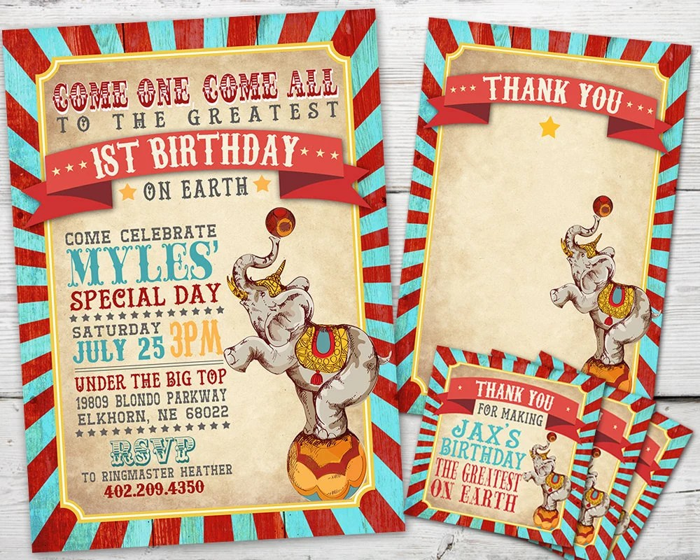 circus invitation set for a circus birthday party or carnival invitation theme with circus thank you card and circus favor tag options