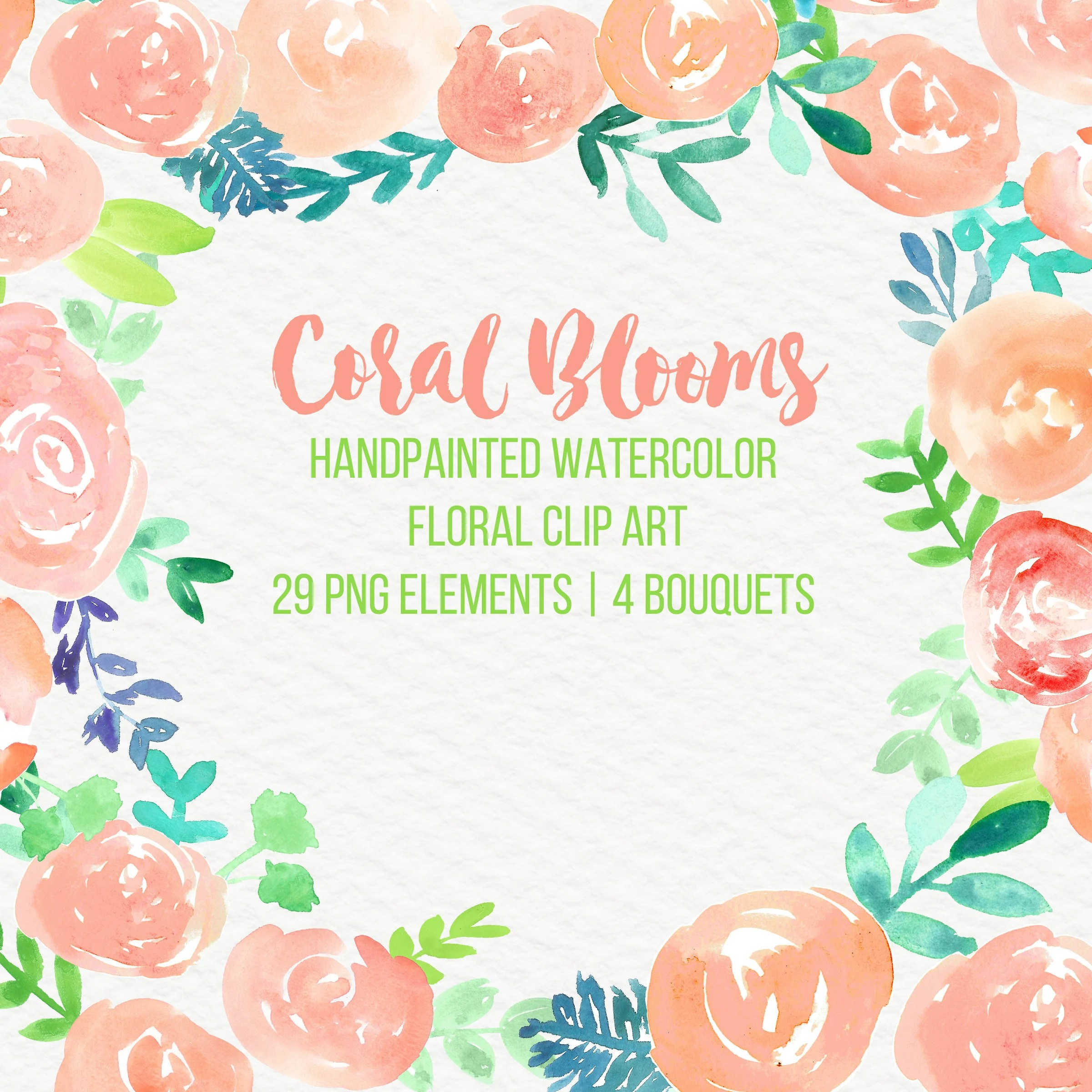 coral blooms abstract watercolor