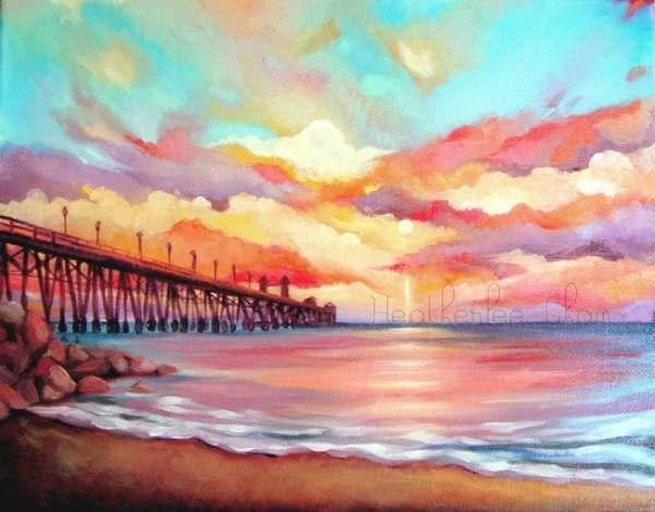 beach painting sunset landscape