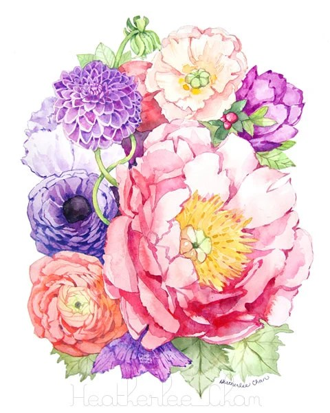 peony watercolor flower art