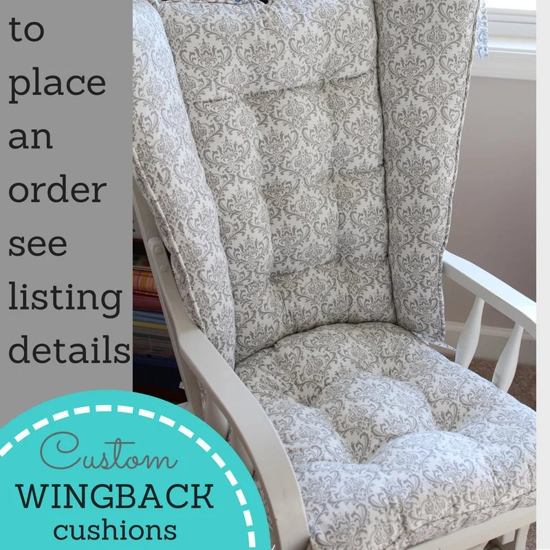 cushions for glider chairs upholstered reading chair wingback rocker 4 post etsy image 0