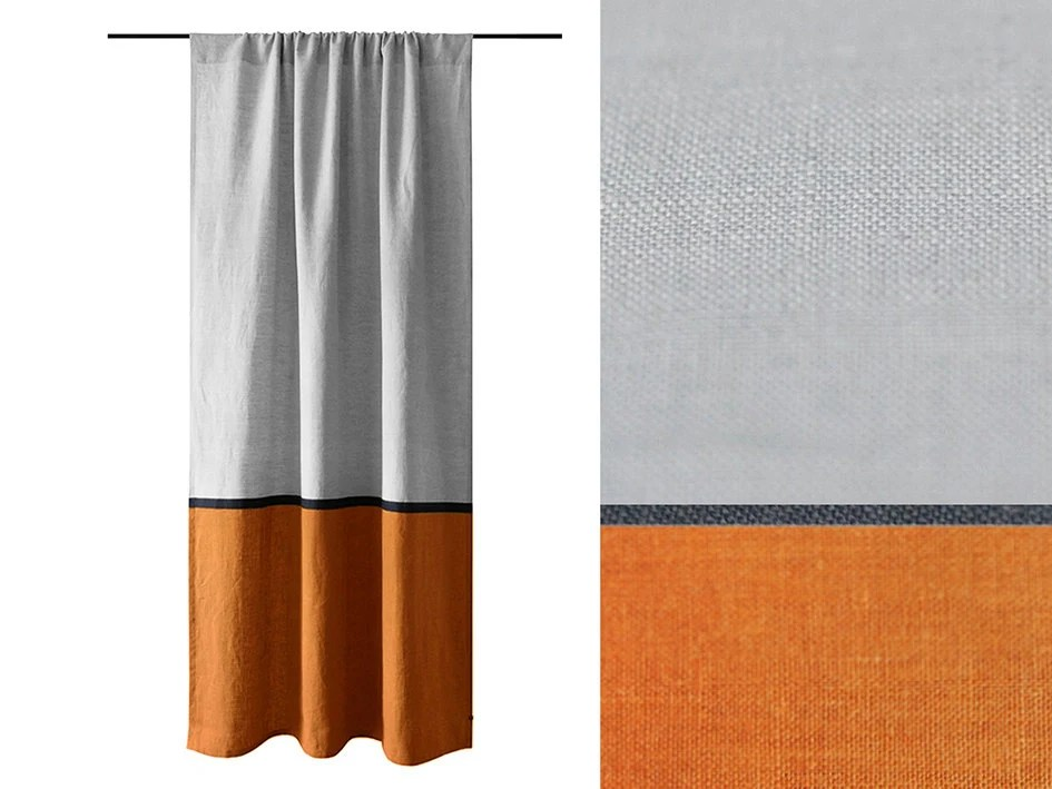 curtain panels color block curtains rust and dove grey curtains linen drapery panel bedroom curtains living room curtain orange curtain