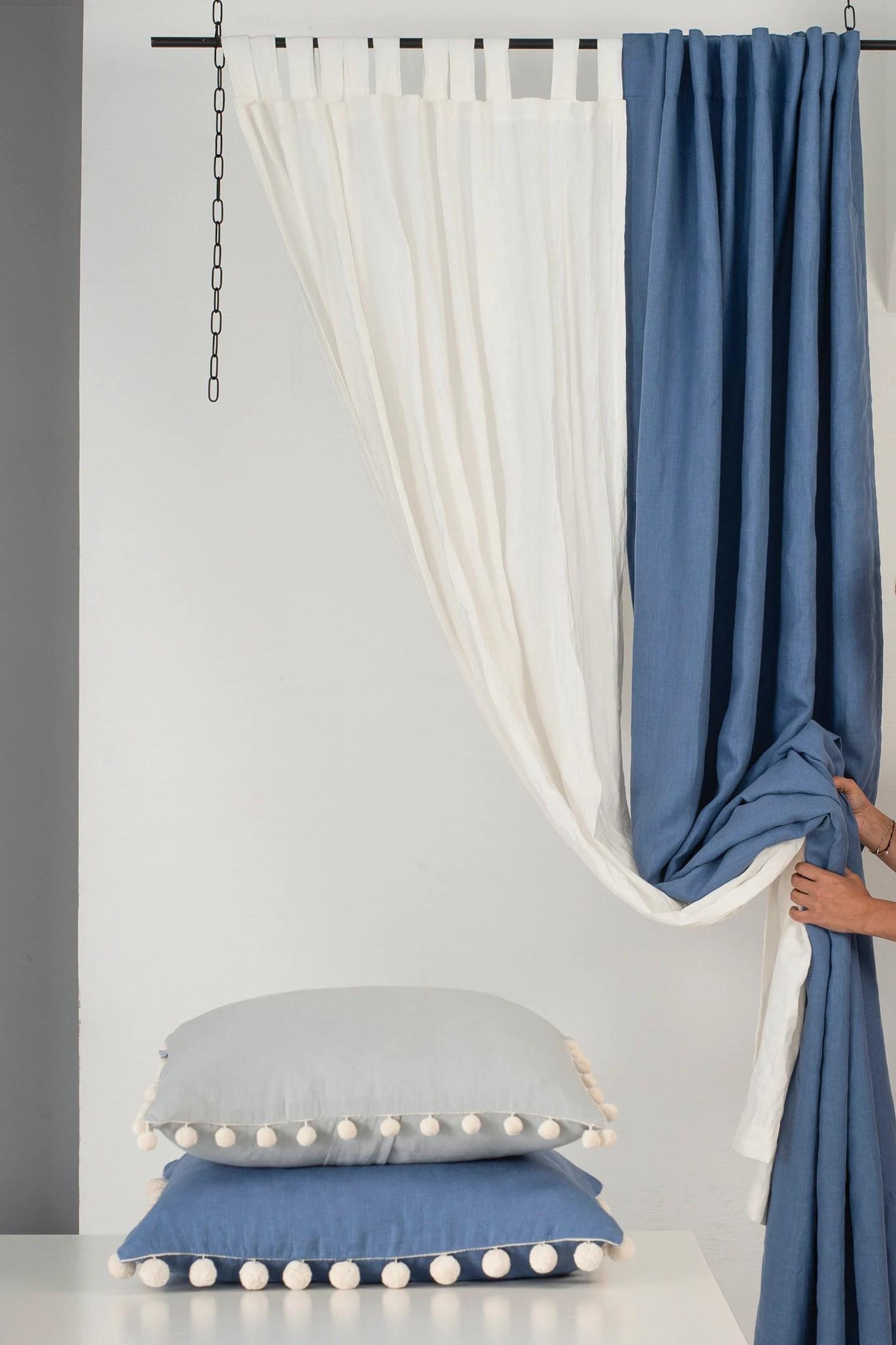 tabs top curtain linen window