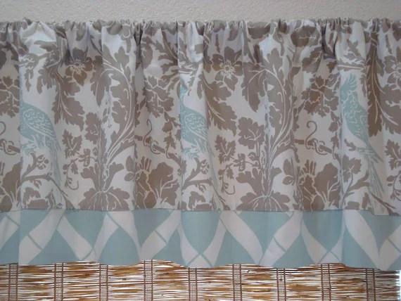 blue kitchen valance metal table taupe powder lattice curtain etsy