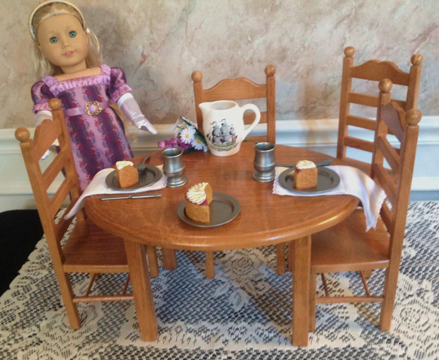 18 doll table and chairs aluminum chaise lounge pool american girl furniture oval 4 chair set etsy image 0