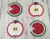 Apple & Watermelon-Coasters-Present-Gift-Birthday-Home-Red-Green-Fruit