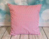 Heart-envalope-cushion-cover-and pad- red-white-quilted back-14 inches