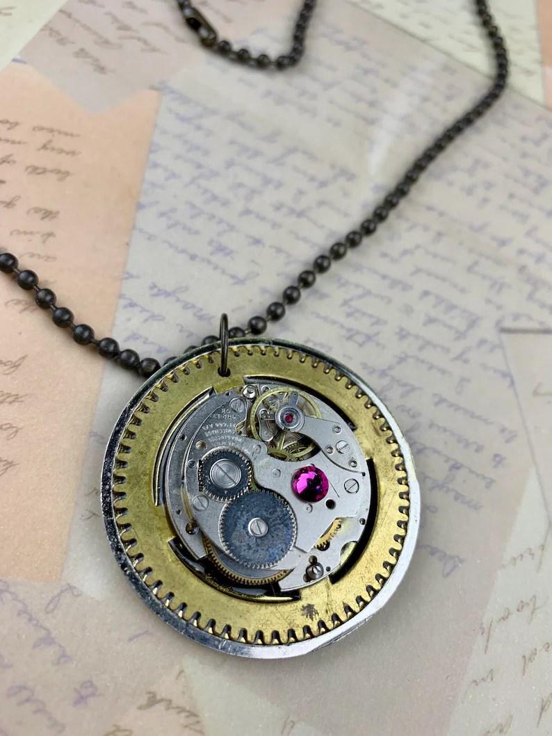 steampunk necklace watch movement