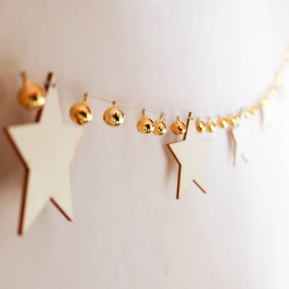 Star & Gold Bell Garland